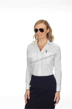 Womens Van Heusen The Aviator LONG SLEEVE White Pilot Uniform Shirts