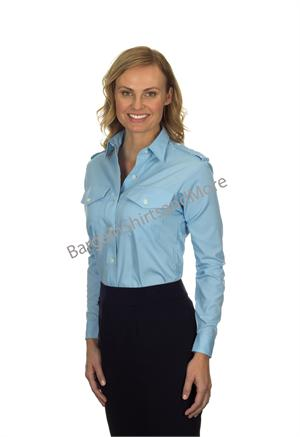 Pilot Shirts - Womens Van Heusen BLUE The Aviator LONG SLEEVE BLUE PILOT