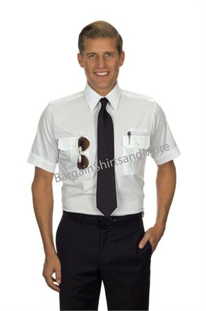 Mens Pilot SHORT SLEEVE Pilot Shirts With Eyelets